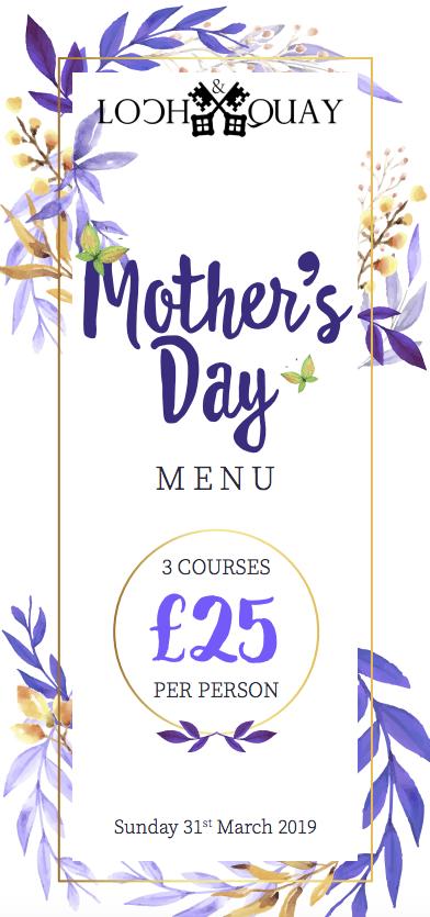 Loch & Quay Mother's Day Menu 2020